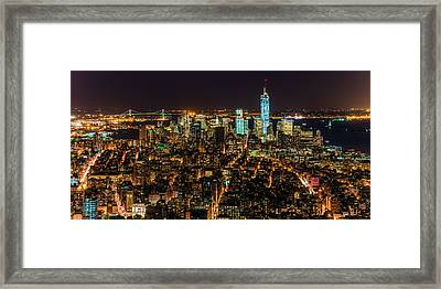 Lower Manhattan At Night 2 Framed Print