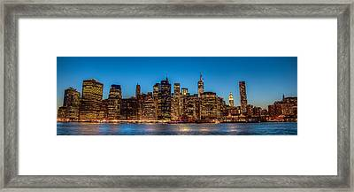 Lower Manhattan At Night Framed Print