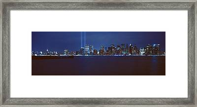 Lower Manhattan, Beams Of Light, Nyc Framed Print by Panoramic Images