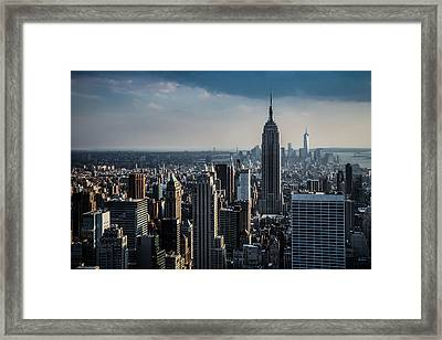 Lower Manhattan Featuring The Empire State Building Framed Print