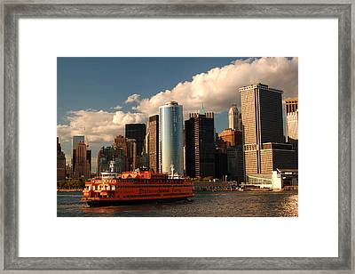 Framed Print featuring the photograph Lower Manhattan  by James Kirkikis