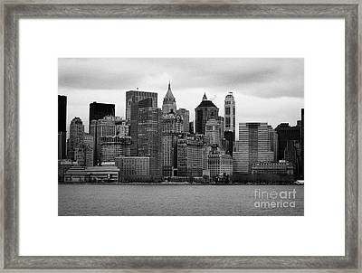 Lower Manhattan Shoreline And Skyline Waterfront Battery Park New York City Framed Print by Joe Fox
