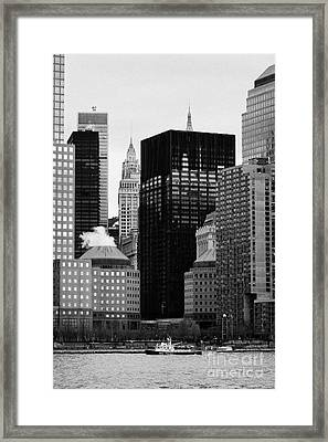 Lower Manhattan Shoreline And Skyline Waterfront New York City Framed Print