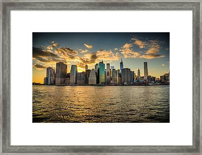 Lower Manhattan Sunset Framed Print