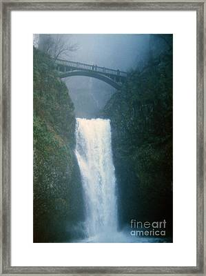 Lower Multnomah Falls Through The Mist Framed Print