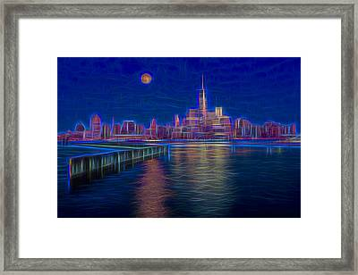 Lower New York City Glow Framed Print by Susan Candelario