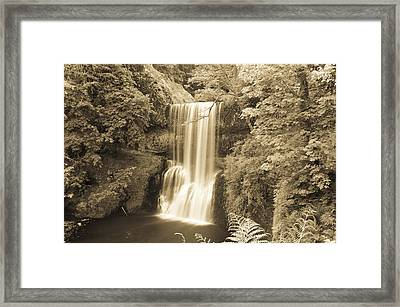 Lower South Falls In Sepia Framed Print