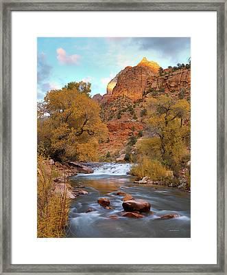 Lower Virgin River In Autumn Framed Print by Leland D Howard