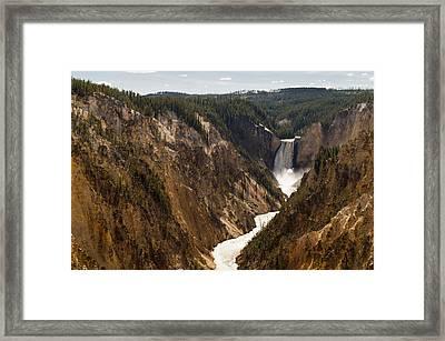 Lower Yellowstone Canyon Falls 4 - Yellowstone National Park Wyoming Framed Print