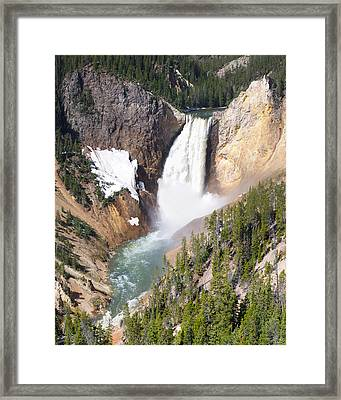 Lower Yellowstone Falls Framed Print by Aaron Spong
