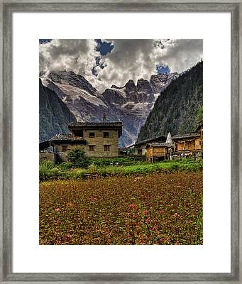 Lower Yubeng Town Crops Framed Print by James Wheeler