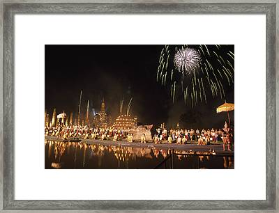 Loy Krathong Show In Thailand Framed Print by Richard Berry