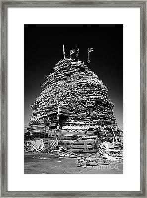 Loyalist 11th Night Bonfire Built On Newtownards Road In Belfast Northern Ireland Framed Print