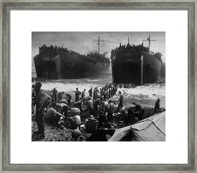 Lsts Off Leyte Island Beach, Shortly Framed Print