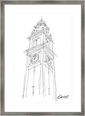 Framed Print featuring the drawing Lsu Bell Tower Study by Calvin Durham