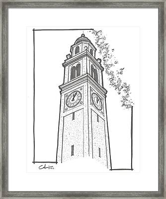 Framed Print featuring the drawing Lsu Memorial Bell Tower by Calvin Durham