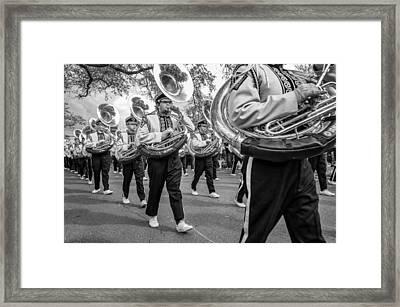 Lsu Tigers Band Monochrome Framed Print by Steve Harrington