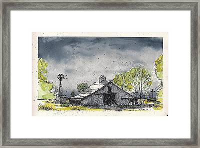 Framed Print featuring the mixed media Lubbock County Barn by Tim Oliver