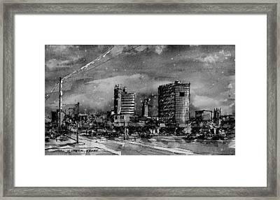 Lubbock Texas Skyline Bw Framed Print by Tim Oliver