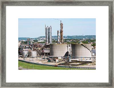 Lubricants Plant Framed Print by Andrew Wheeler/science Photo Library