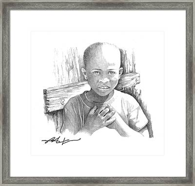 Framed Print featuring the drawing Luc by Bob Salo