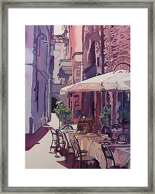 Lucca Cafe Framed Print by Jenny Armitage