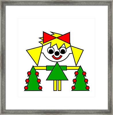 Lucca With Christmas Trees Wishes You A Merry Christmas Framed Print by Asbjorn Lonvig