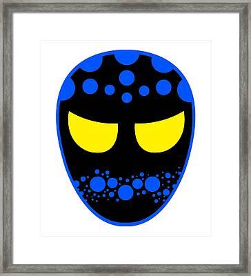 The Dreamweaver Luchador Black Blue Yellow Framed Print by MX Designs