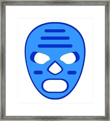 Blue Mummy Luchador Blue White Framed Print by MX Designs