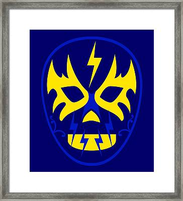 El Toques Luchador Blue Yellow Framed Print by MX Designs