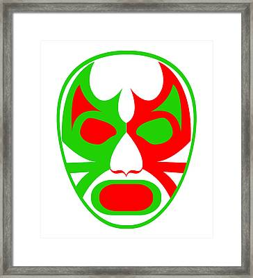 El Bandera Luchador Green Red White Framed Print by MX Designs
