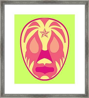 Payaso Loco Luchador Green Red Yellow Framed Print by MX Designs