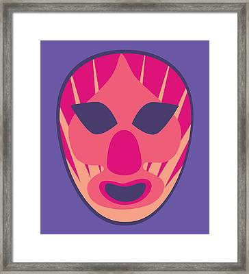 Scary Clown Luchador Purple Red Pastels Framed Print by MX Designs