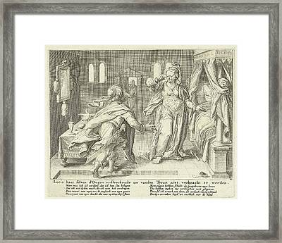 Lucia Raises Her Eyes, Zacharias Dolendo Framed Print by Jacob De Gheyn (ii) And Claes Jansz. Visscher (ii)