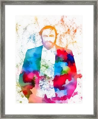 Luciano Pavarotti Paint Splatter Framed Print by Dan Sproul