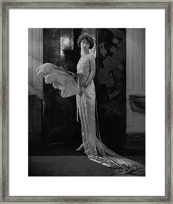 Lucie Bigelow Rosen Holding An Ostrich Feather Framed Print