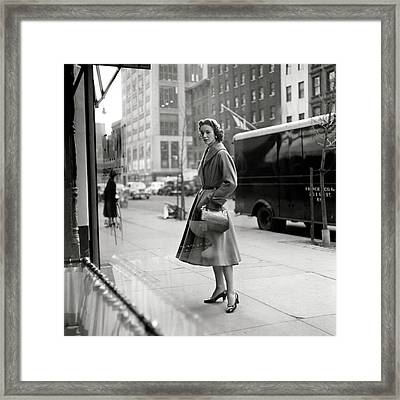 Lucille Carhart Window Shopping On A Street Framed Print