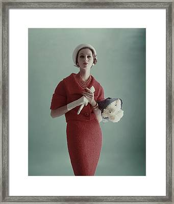 Lucinda Hollingsworth Wearing A Red Suit Framed Print by Karen Radkai