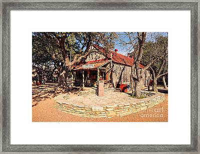 Luckenbach Post Office In Golden Hour Light - Texas Hill Country Framed Print
