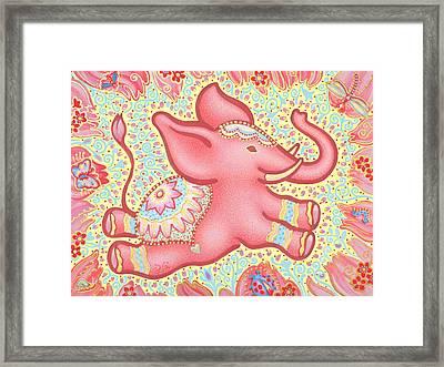 Lucky Elephant Pink Framed Print by Judith Grzimek