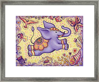 Lucky Elephant Purple Framed Print by Judith Grzimek
