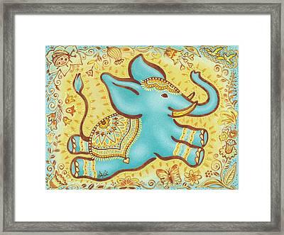 Lucky Elephant Turquoise Framed Print by Judith Grzimek