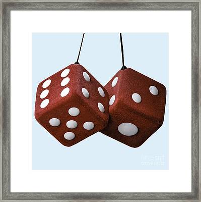 Lucky Fuzzy Red Dice  Framed Print