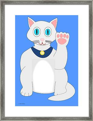 Lucky Gray And White Cat Framed Print