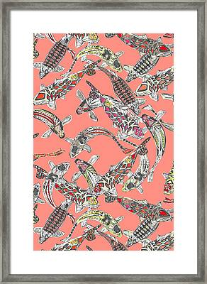 Lucky Koi Coral Framed Print by Sharon Turner