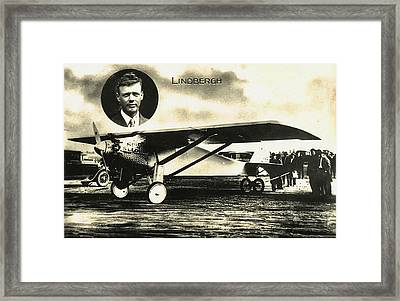 Lucky Lindy And The Spirit Of St Louis Framed Print by Bill Cannon