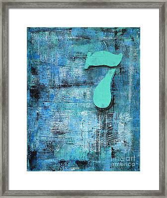 Lucky Number 7 Blue Turquoise Abstract By Chakramoon Framed Print by Belinda Capol