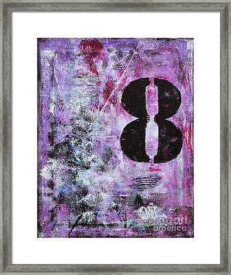 Lucky Number 8 Pink Black White Abstract By Chakramoon Framed Print by Belinda Capol