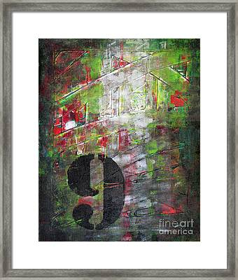 Lucky Number 9 Green Red Grey Black Abstract By Chakramoon Framed Print by Belinda Capol