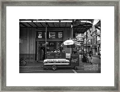 Lucky On Bourbon Street Mono Framed Print
